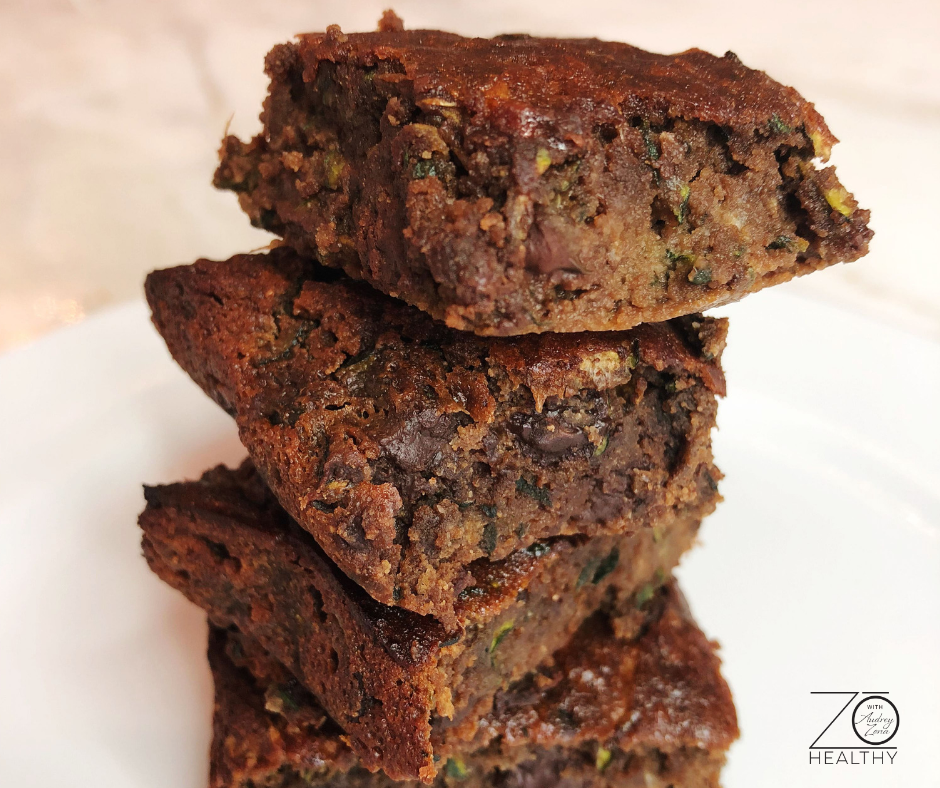NJ Personal Health Coach Integrative Health Coach Audrey Zona Zucchini Brownie Recipe square brownies