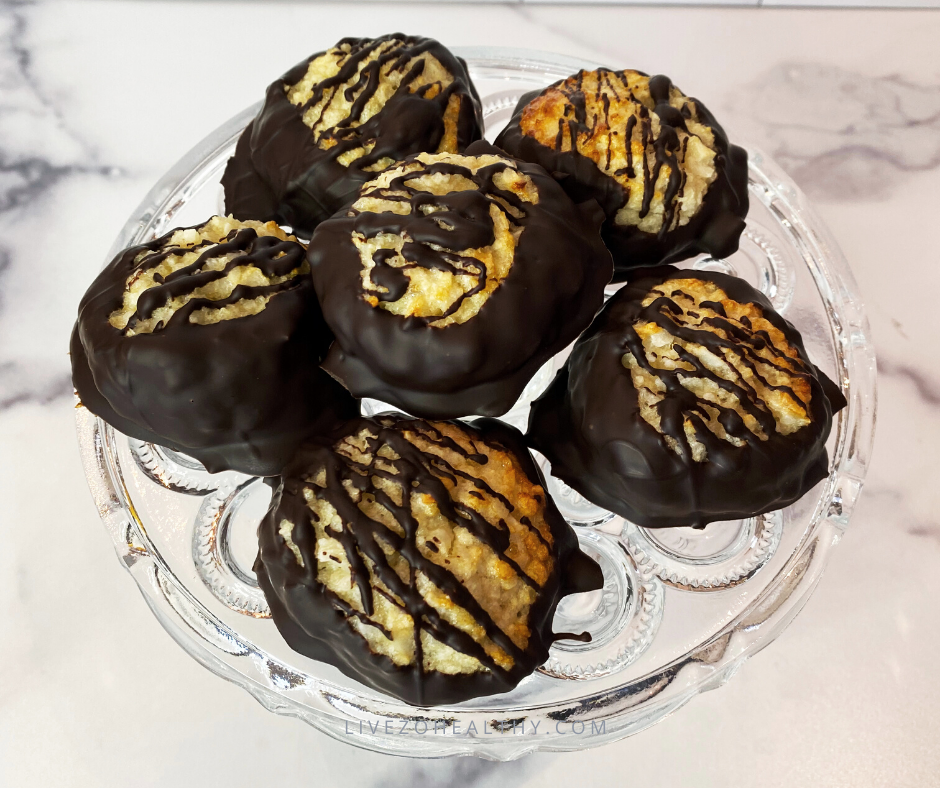 Zo Healthy Chocolate Dipped Macaroons done on platter