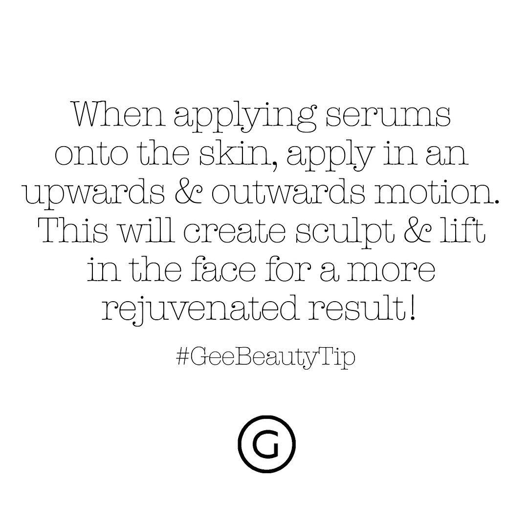 Image of Gee Beauty Tip about applying serums